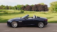 2015 Jaguar F-Type V6 Convertible Indigo Blue Metallic side view top down