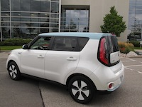 2015 Kia Soul EV White Blue rear side wheels