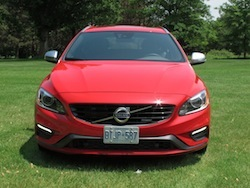 2015 Volvo V60 T6 R-Design Red front headlight view