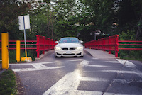 bmw m4 cabriolet white red bridge