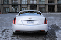 2015 cadillac ats coupe white rear dual exhaust
