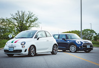 mini cooper s and fiat 500 turbo white and blue
