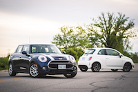 mini cooper s blue versus fiat 500 turbo