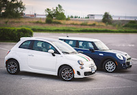 fiat 500 turbo white and mini cooper blue