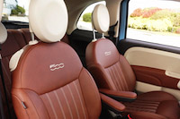 2016 Fiat 500 1957 Edition front brown leather seats