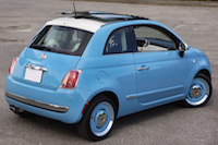 2016 Fiat 500 1957 Edition blue white roof top
