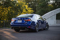 2016 Lexus GS F rear view stacked quad exhausts