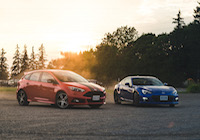 blue subaru brz ford focus st red