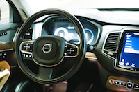 Volvo XC90 T8 PHEV Plug-in brown interior steering wheel