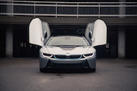 2017 BMW i8 front view laser led headlights