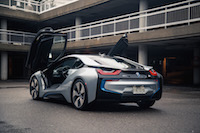 2017 BMW i8 ionic silver blue accents
