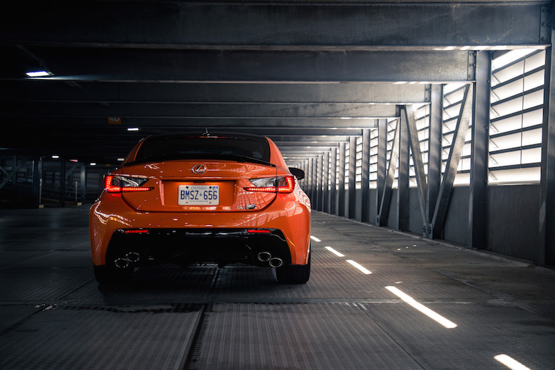 2017 Lexus RC F rear view quad exhausts