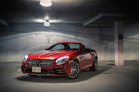 2017 Mercedes-AMG SLC 43 front quarter view
