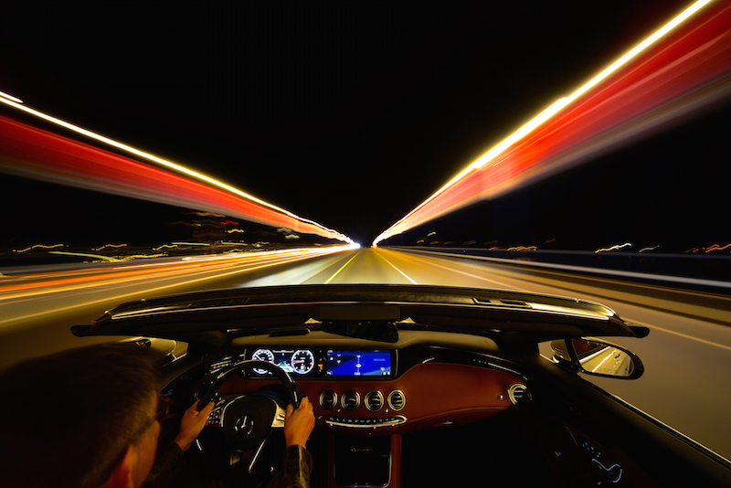 2017 Mercedes-Benz S 550 Cabriolet night driving pov