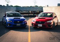 2017 Subaru WRX blue and red paint colour comparison