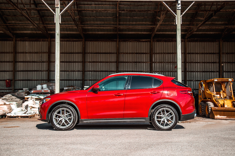 Alfa Romeo Stelvio side view red