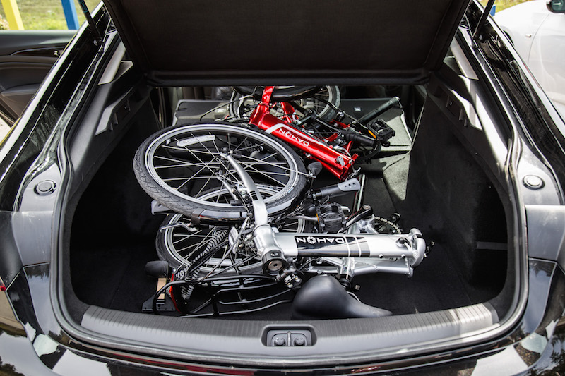 2018 Buick Regal Sportback trunk loaded with bikes