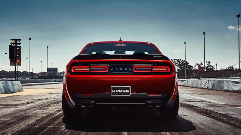 2018 Dodge Challenger SRT Demon rear view exhaust