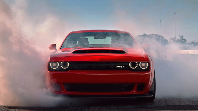 2018 Dodge Challenger SRT Demon drift smoke