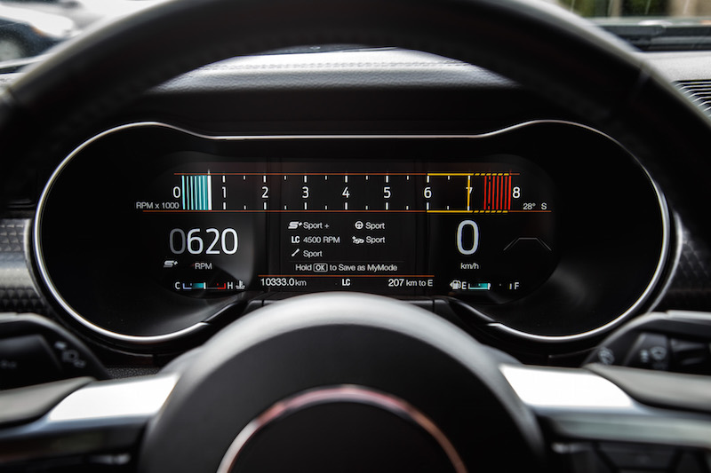 2018 Ford Mustang GT Convertible new track gauges view