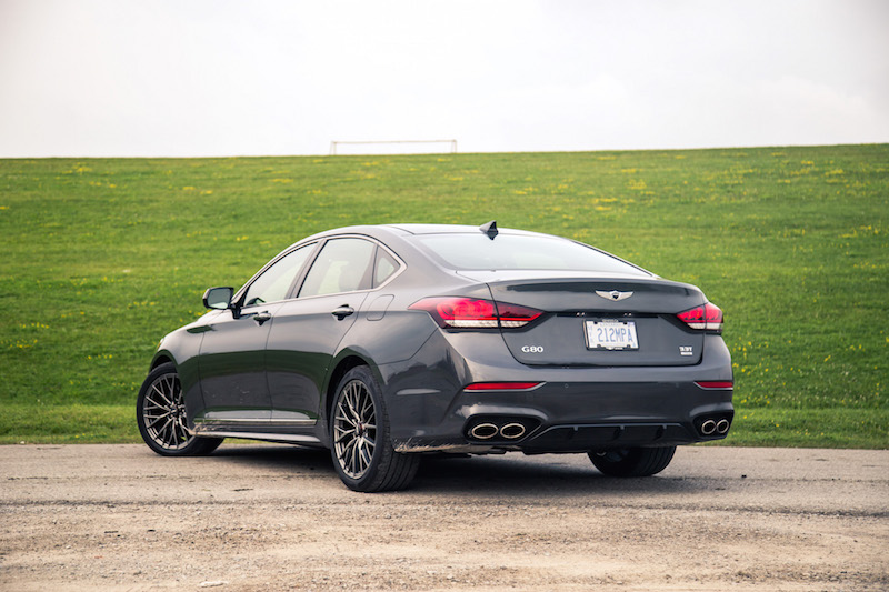 2018 Genesis G80 Sport 3.3t rear quarter view