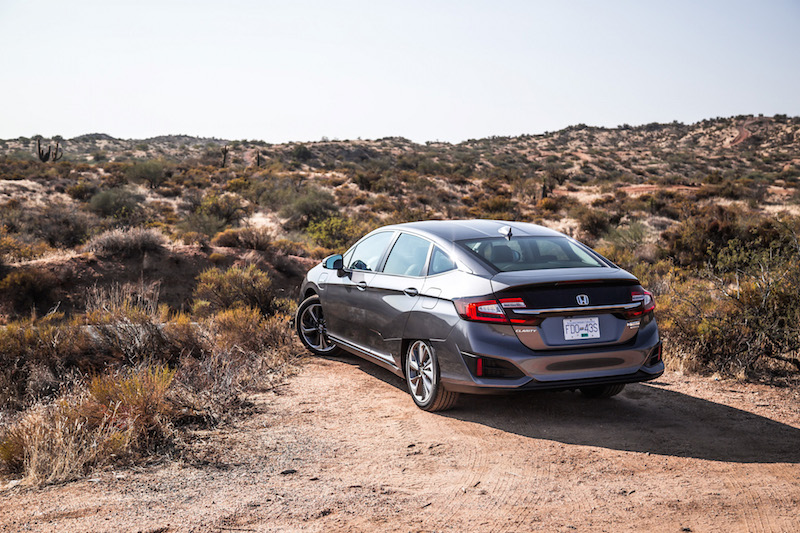 2018 Honda Clarity PHEV rear quarter view