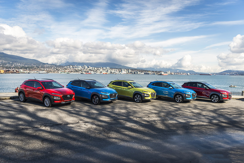 2018 hyundai kona paint colours red blue green