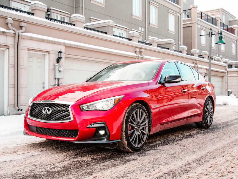 2018 Infiniti Q50 Red Sport 400 front quarter view
