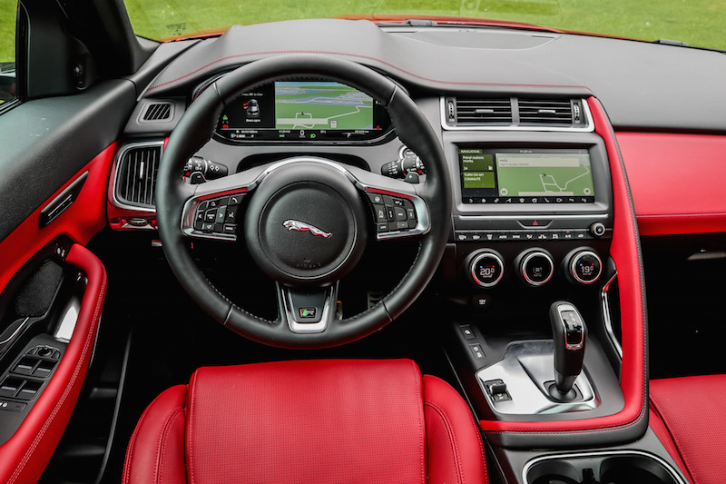 2018 Jaguar E-Pace red leather interior