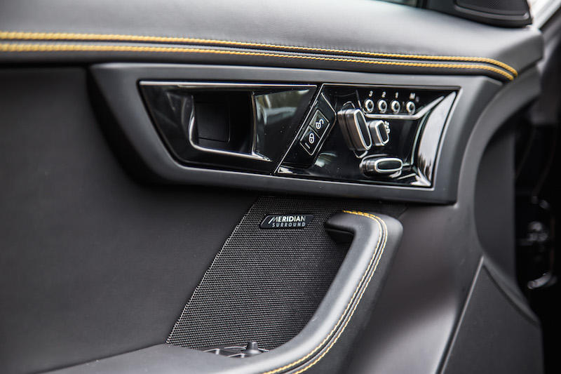 2018 Jaguar F-Type 400 Sport Coupe door panel controls