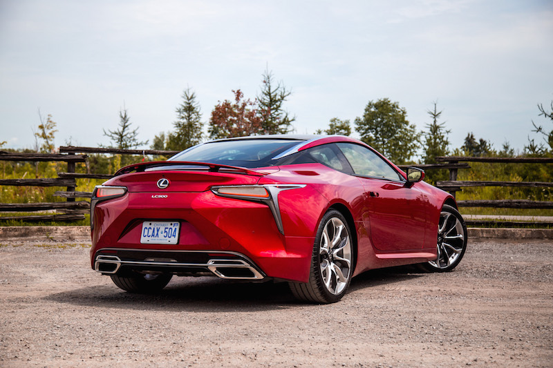 2018 Lexus LC 500 rear spoiler up