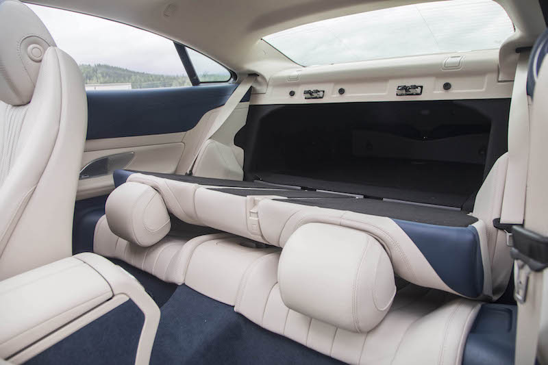 2018 Mercedes-Benz E 400 4MATIC Coupe rear seats folded down to trunk