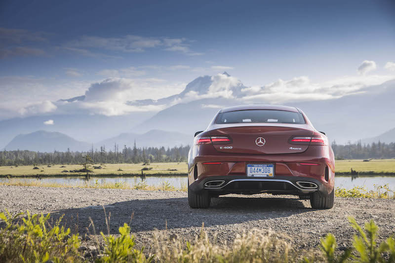 2018 Mercedes-Benz E 400 4MATIC Coupe rear view canada bumperettes