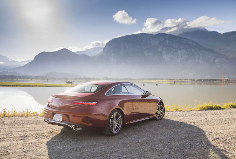 2018 Mercedes-Benz E 400 4MATIC Coupe scenic sunset