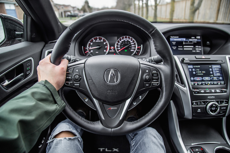 2019 Acura TLX A-Spec steering wheel leather