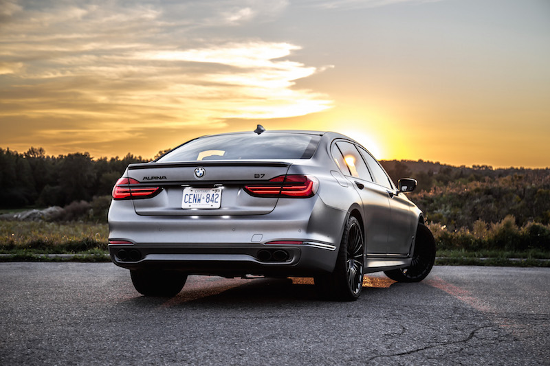 2019 BMW Alpina B7 rear quarter view