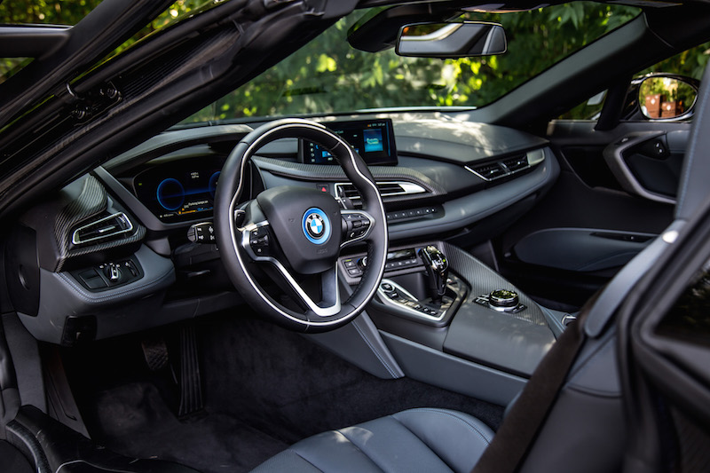 2019 BMW i8 Roadster interior black blue accents