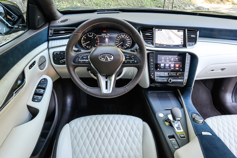 2019 Infiniti QX50 interior brown steering wheel white seats blue suede