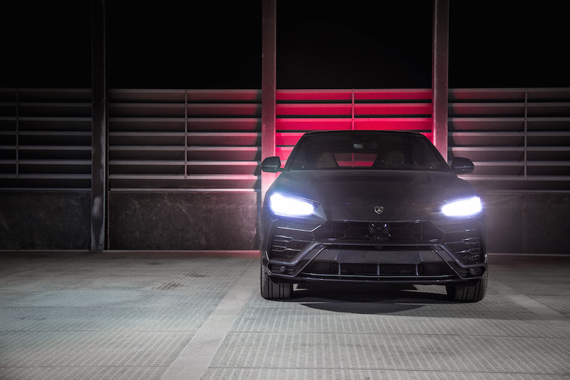 2019 Lamborghini Urus headlights at night