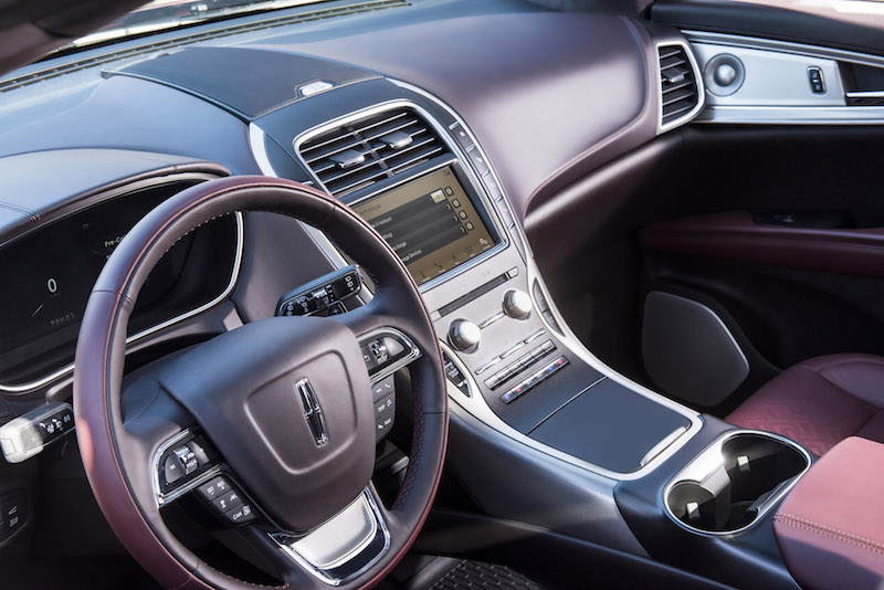 2019 Lincoln Nautilus black label interior red accent