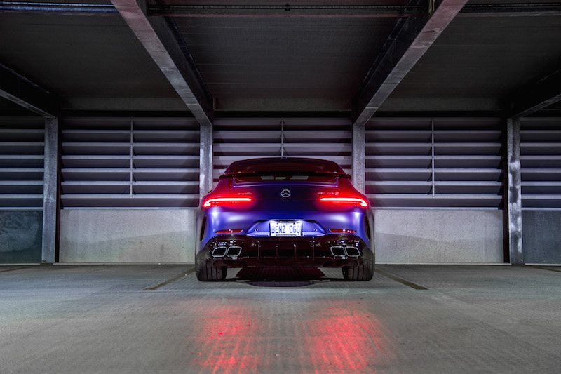 2019 Mercedes-AMG GT 63 S 4MATIC+ 4-Door Coupe rear end at night