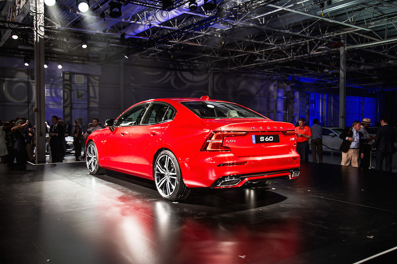 2019 Volvo S60 red r-design rear quarter view