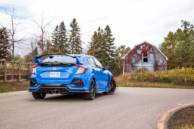 2020 Honda Civic Type R Boost Blue rear view canada