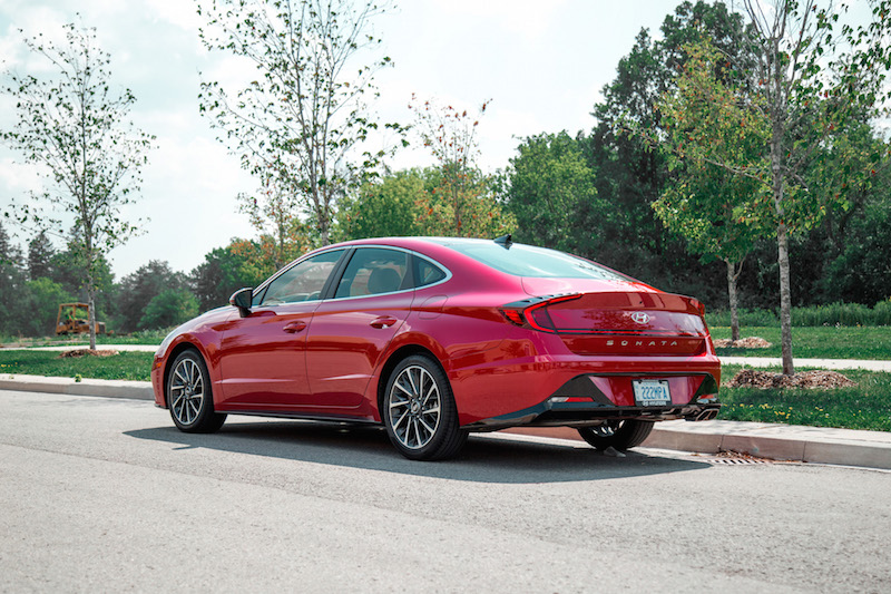 2020 Hyundai Sonata Ultimate red rear quarter view