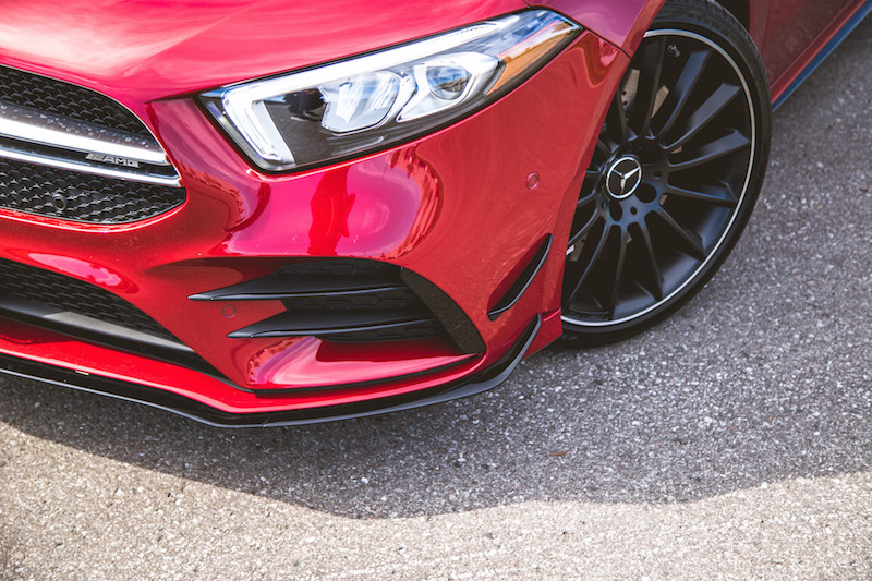 2020 Mercedes-AMG A 35 Hatchback aero package fins
