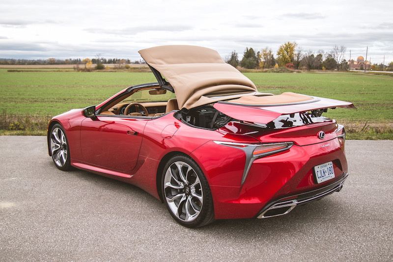 2021 Lexus LC 500 Convertible roof in operation