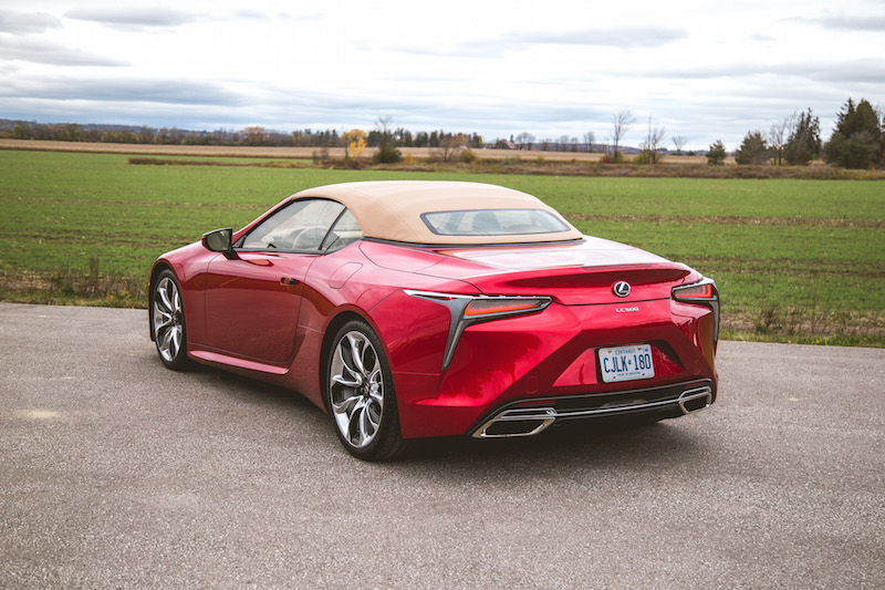 2021 Lexus LC 500 Convertible Infrared beige brown roof fabric top up rear view