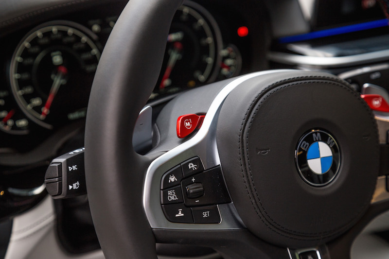 2018 BMW M5 red m steering wheel buttons