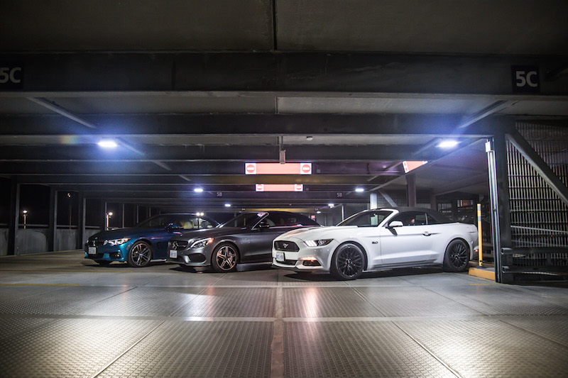 BMW 440i Mercedes AMG C 43 Ford Mustang GT convertible top up